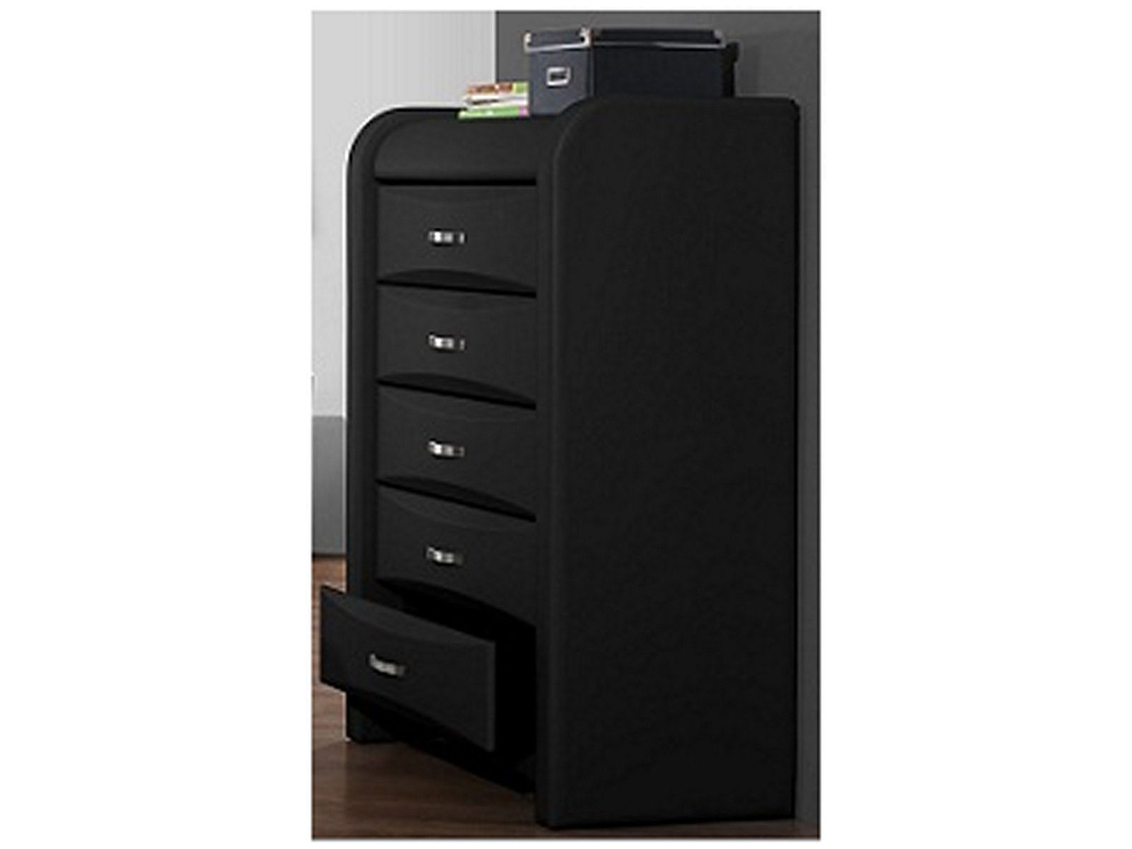Azure 5 Drawer Chest Of Drawers Black Faux Leather Ebay