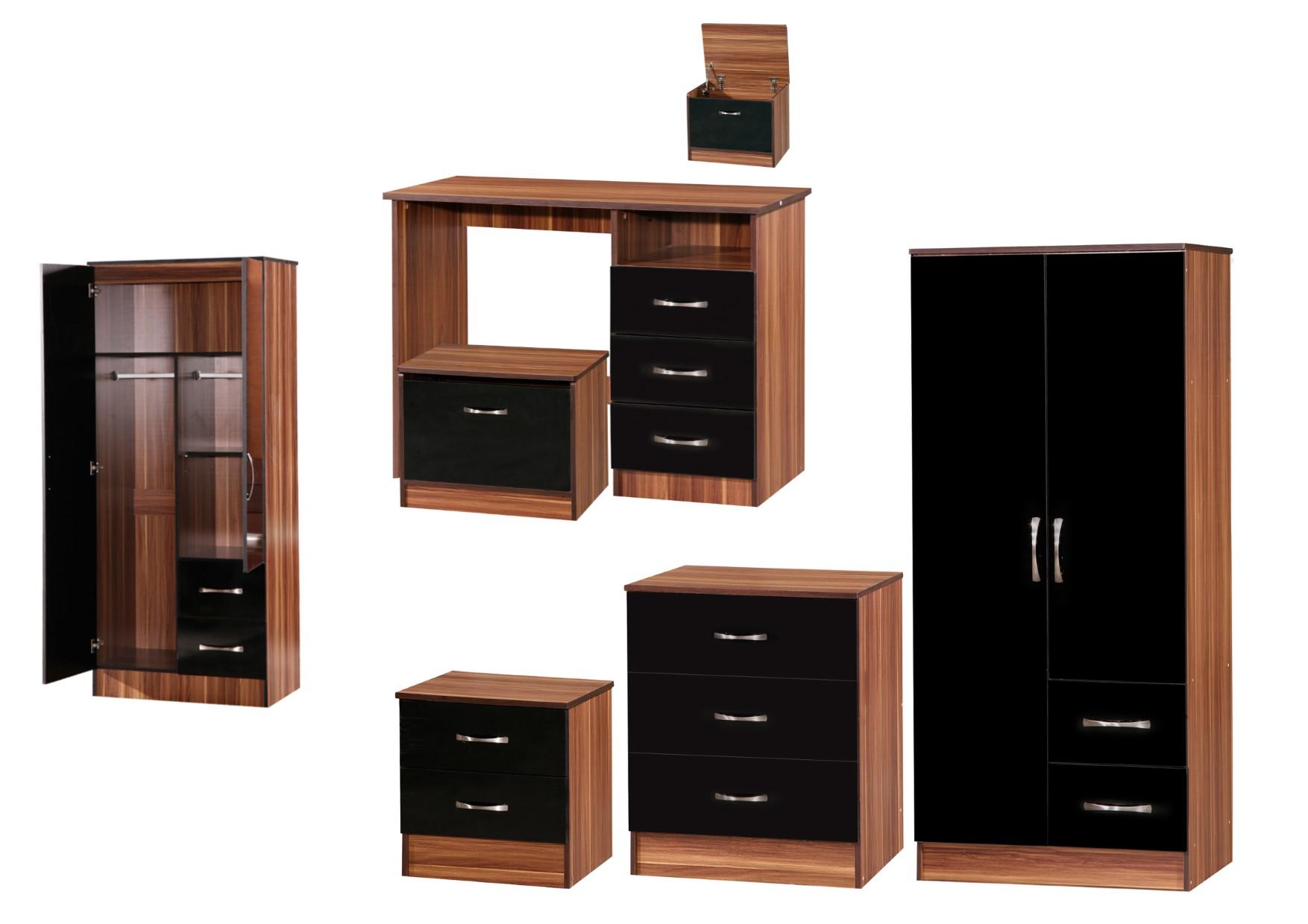 Marina Black Walnut High Gloss Bedroom Furniture Sets