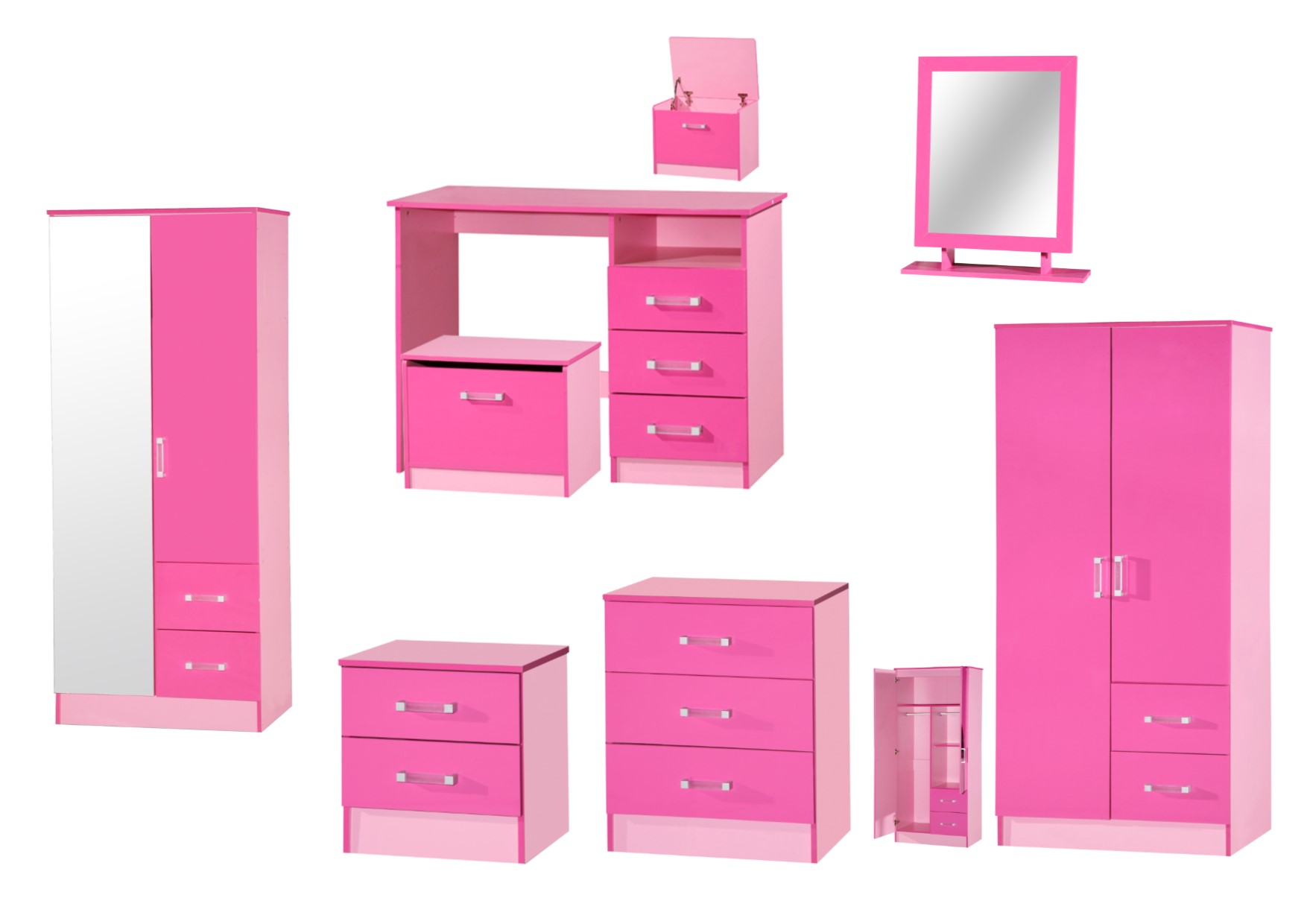 Marina pink high gloss bedroom furniture sets wardrobe for High gloss bedroom furniture