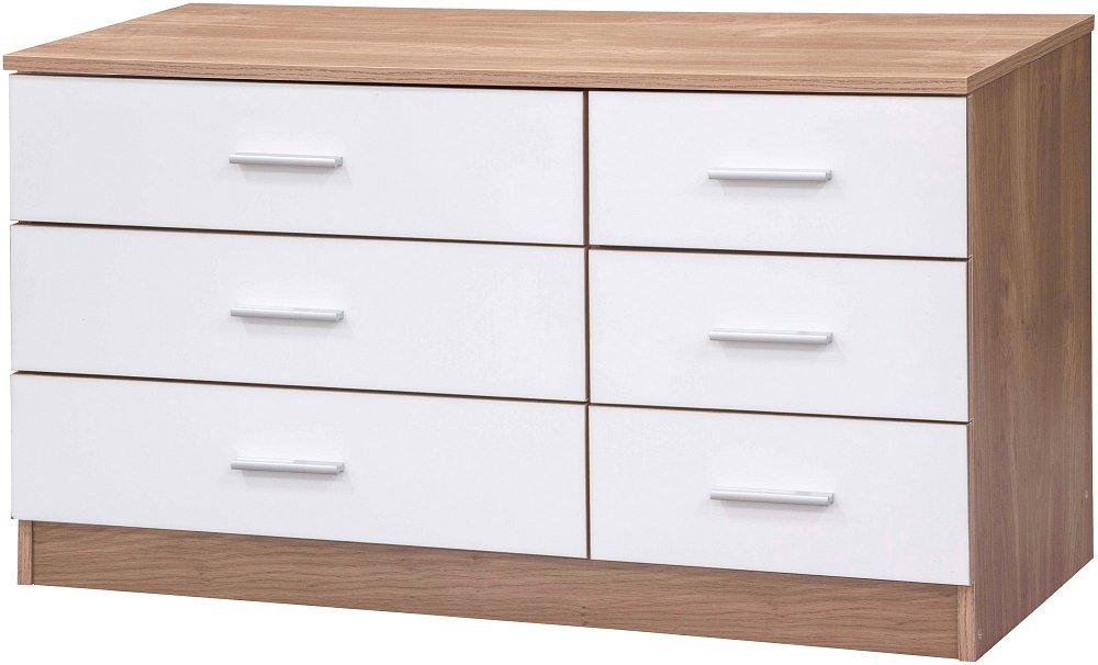 bedroom furniture 6 drawer chest of drawers oak white ebay
