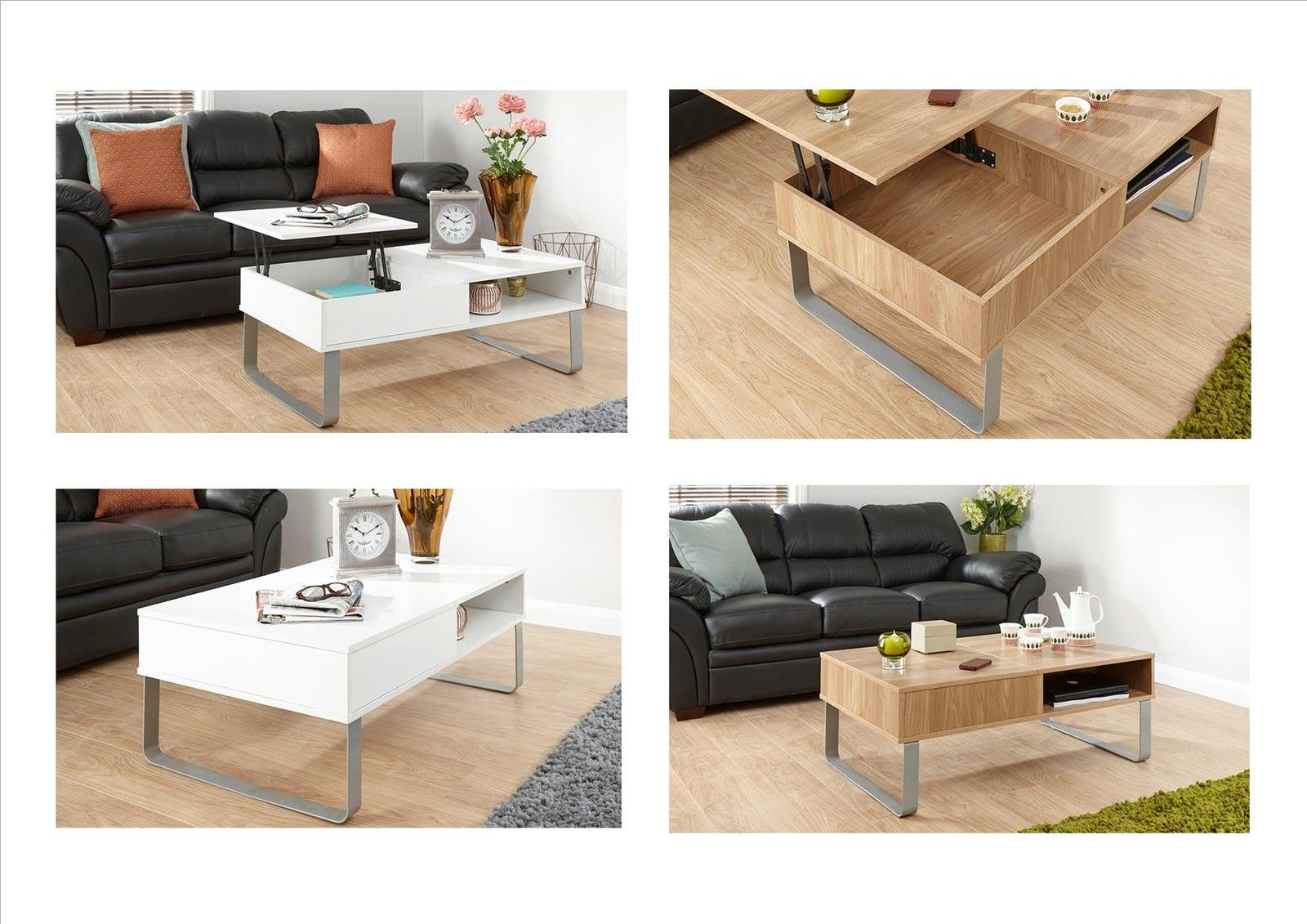 Aspen Lift Up Top Coffee Table with Split Level Storage
