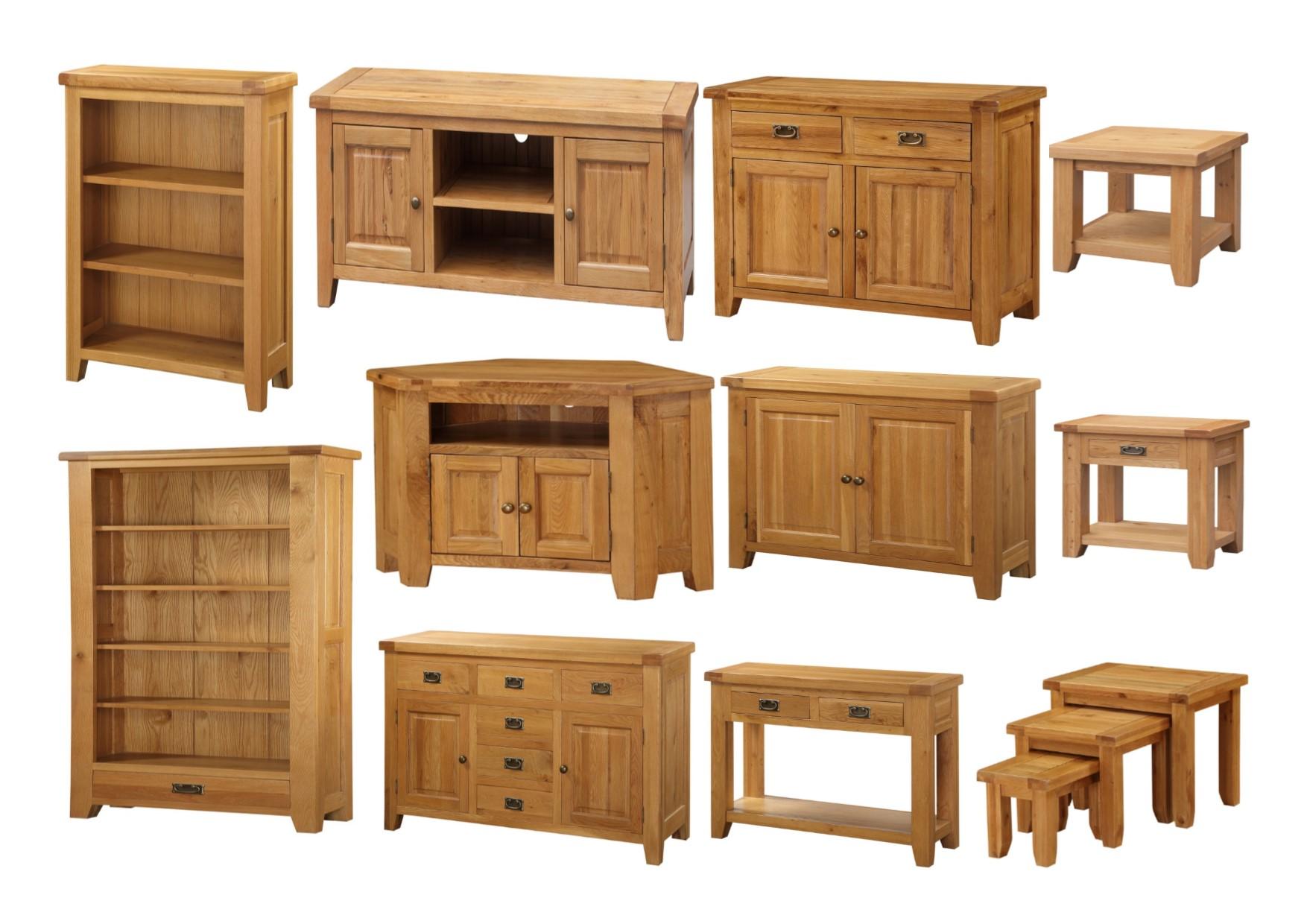Heartlands acorn solid oak living room furniture storage tables tv units for Oak shelving units living room