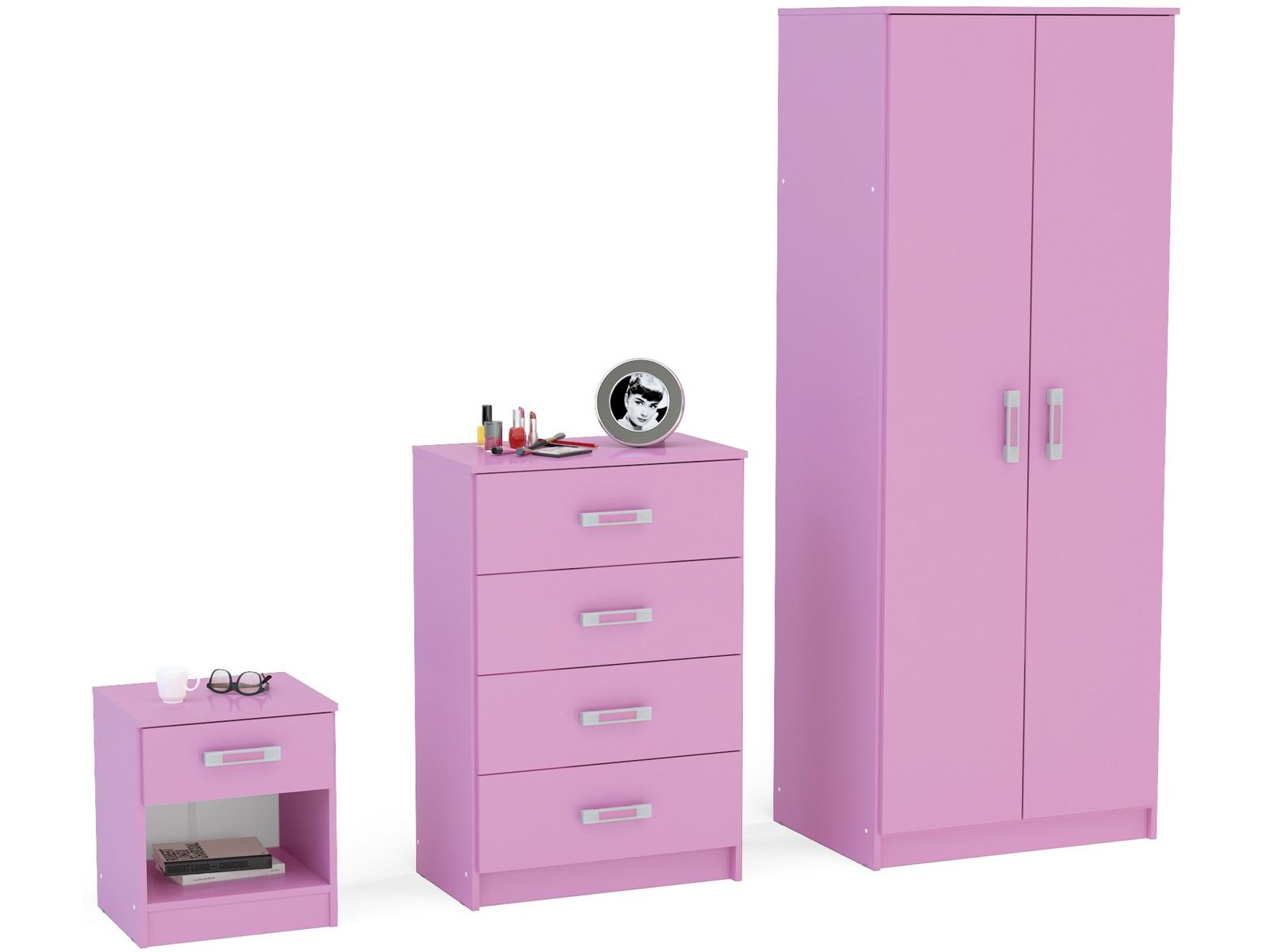 Reflect PINK High Gloss Girls Bedroom Furniture Set Wardrobe Chest Bedside