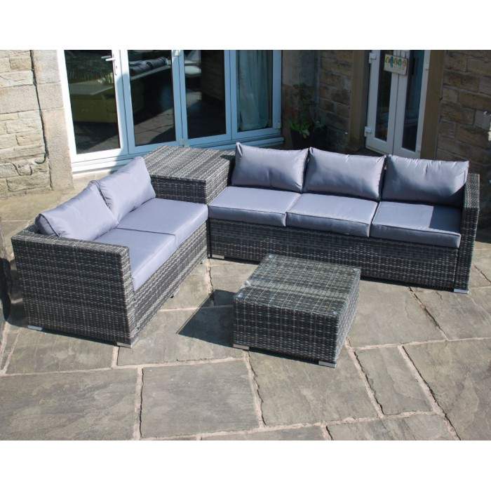 Corner Recliner Sofa Ebay: Grey Rattan Outdoor Garden Furniture Corner Sofa With
