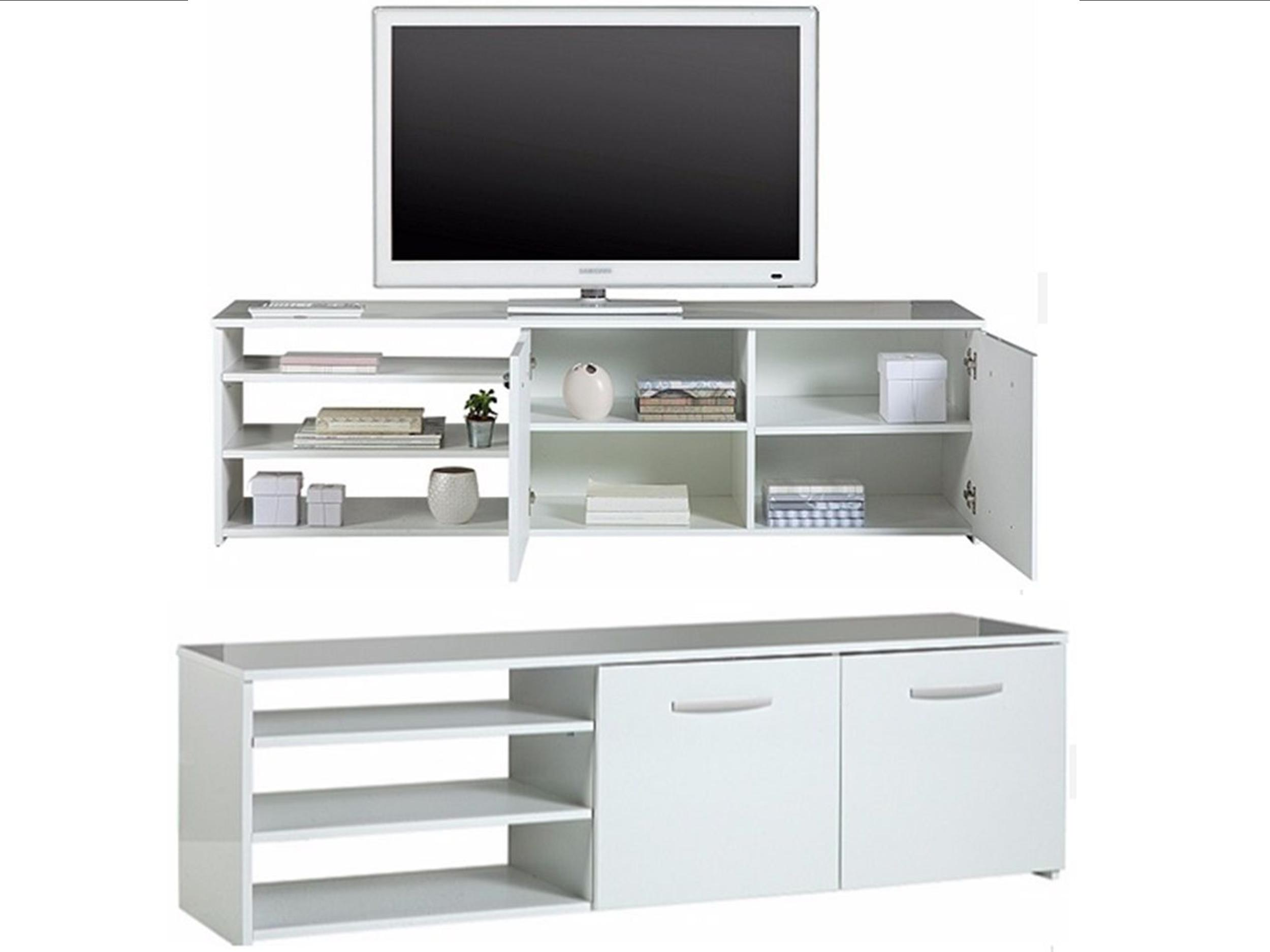 argos hayward wide 2 door tv unit with shelves and. Black Bedroom Furniture Sets. Home Design Ideas