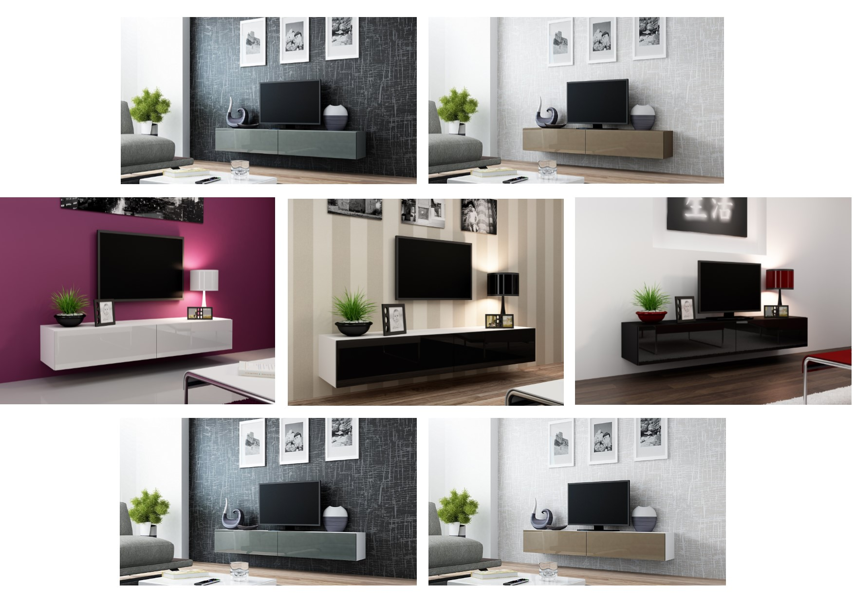 High Gloss TV Stand Entertainment Cabinet 180cm Floating