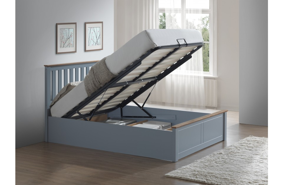 Birlea phoenix wooden ottoman storage bed frame 4ft for Small double bed ottoman storage