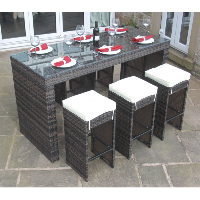 All weather brown rattan outdoor garden furniture 7 piece for All weather garden furniture