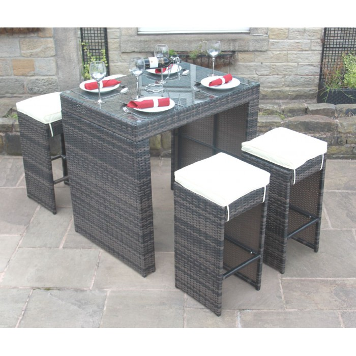 All weather brown rattan outdoor garden furniture 5 piece for All weather garden furniture