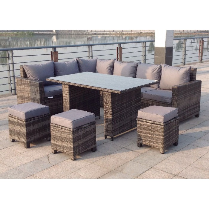 Rattan Corner Sofa Garden Set: Rattan Outdoor Corner Sofa Dining Set Garden Furniture In Grey