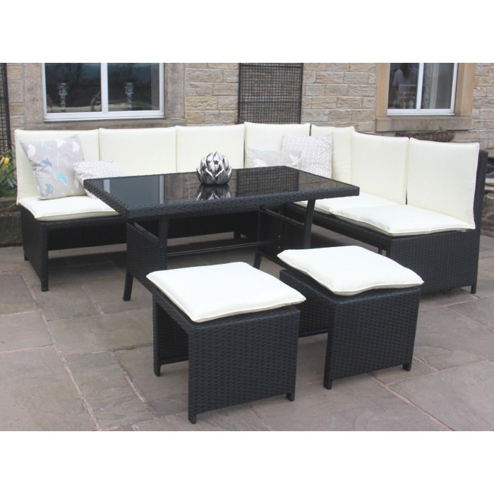 Rattan Corner Sofa Dining Set Outdoor Garden Furniture In Black Ebay