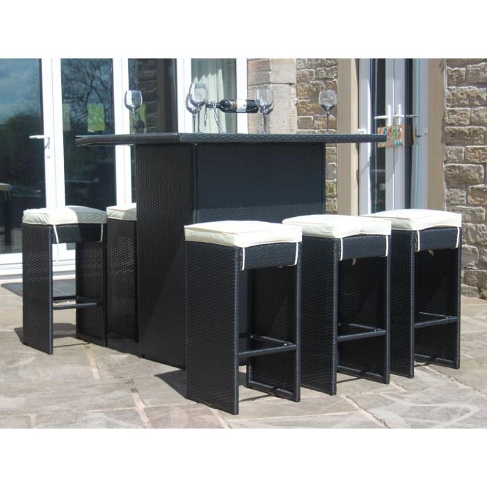 Ebay Bar Furniture: Rattan Outdoor 6 Seat High Table & Stool Bar Set Garden