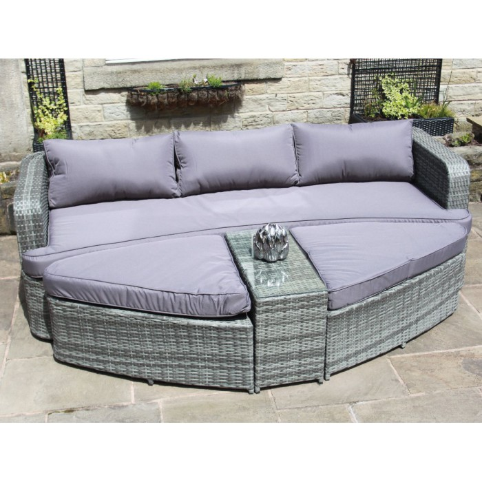 Grey Rattan Lounge Set Sofa with Table & Ottomans Outdoor ...