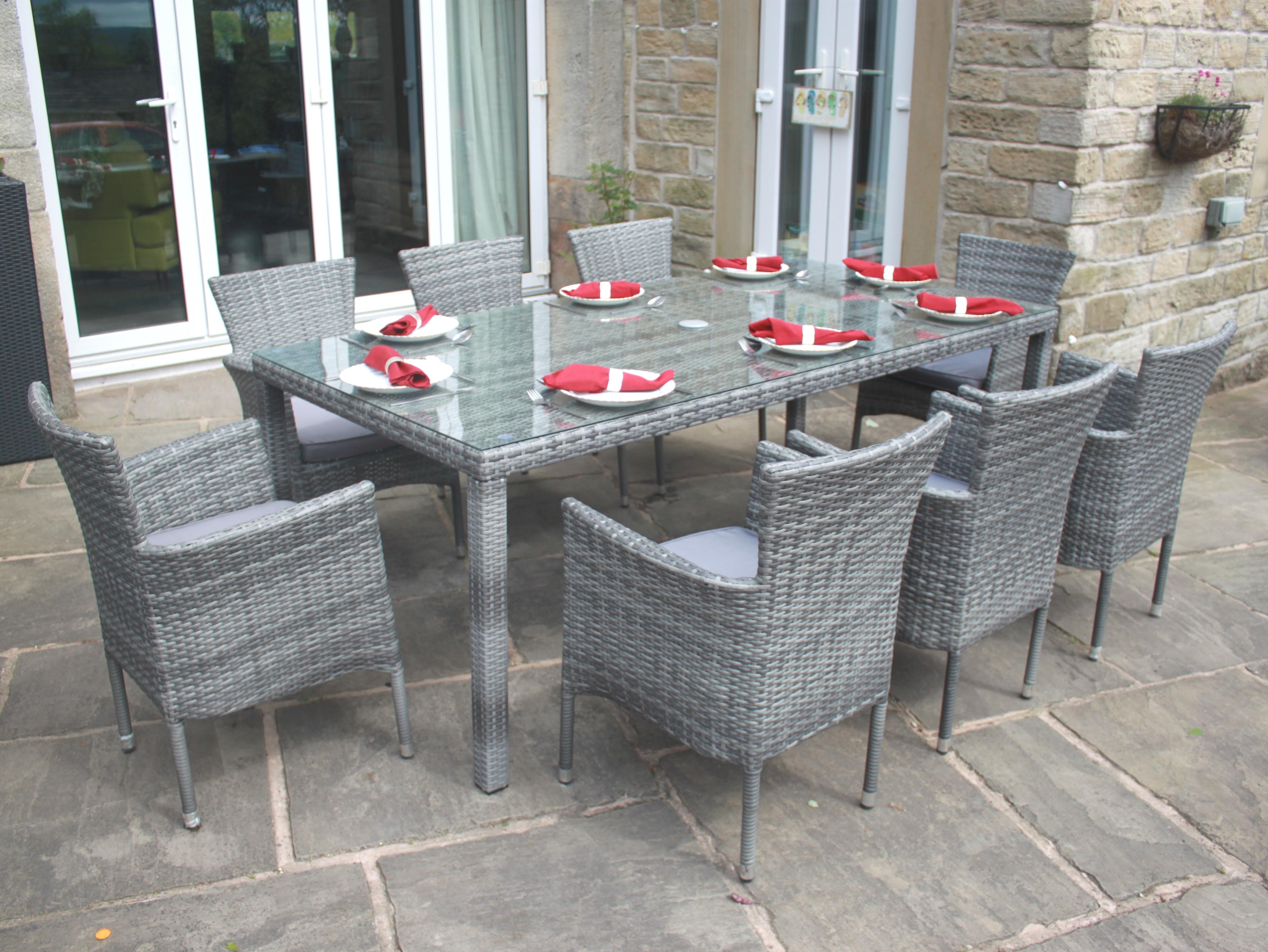 8 Seater Garden Dining Set In Grey Rattan Tempered Glass Rust Resistant EBay