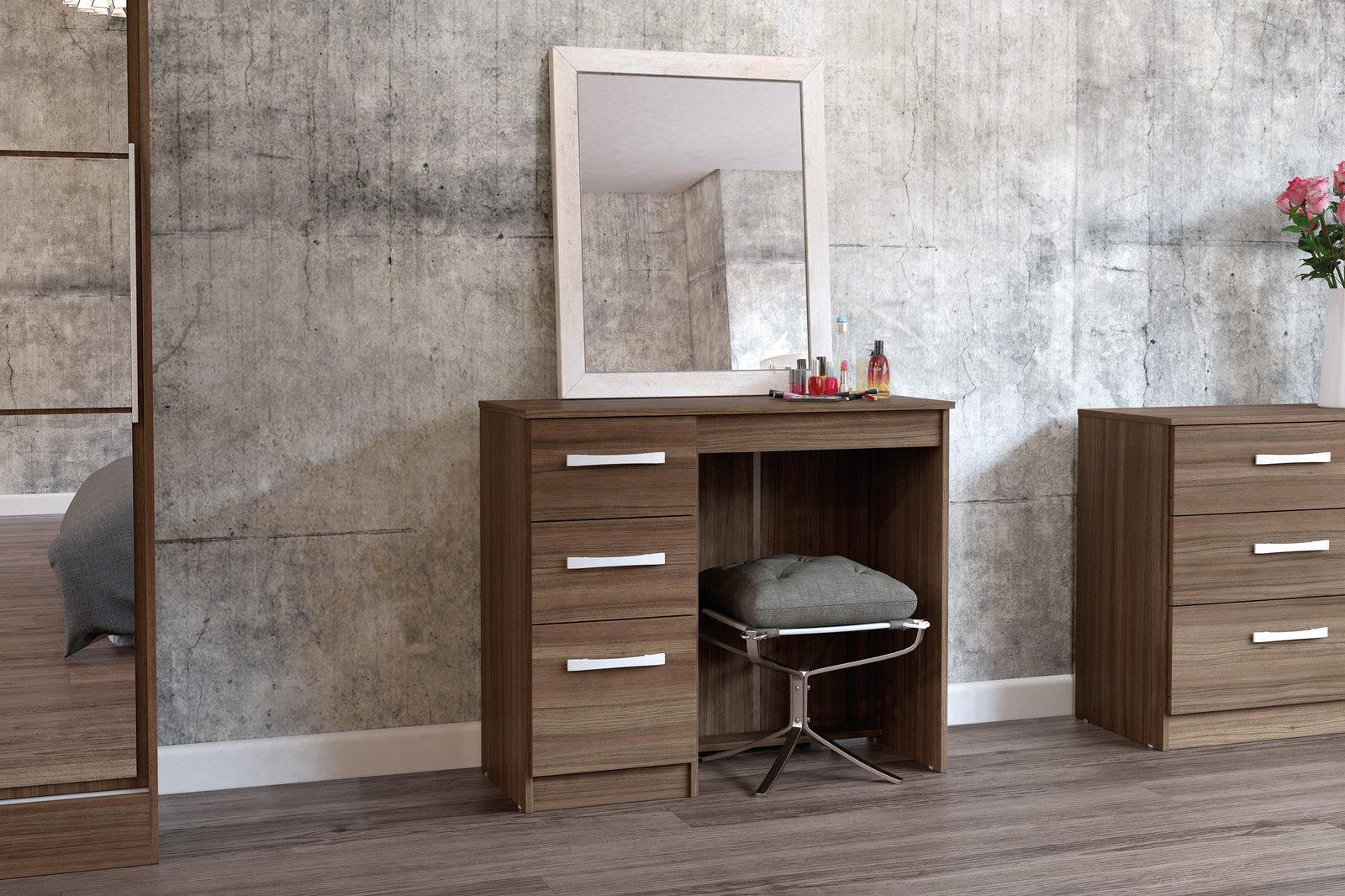Birlea Lynx Walnut Gloss 3 Drawer Dressing Table Bedroom Furniture