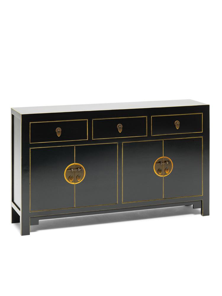 Oriental nine schools qing black and gold leaf gilt large for Sideboard gold