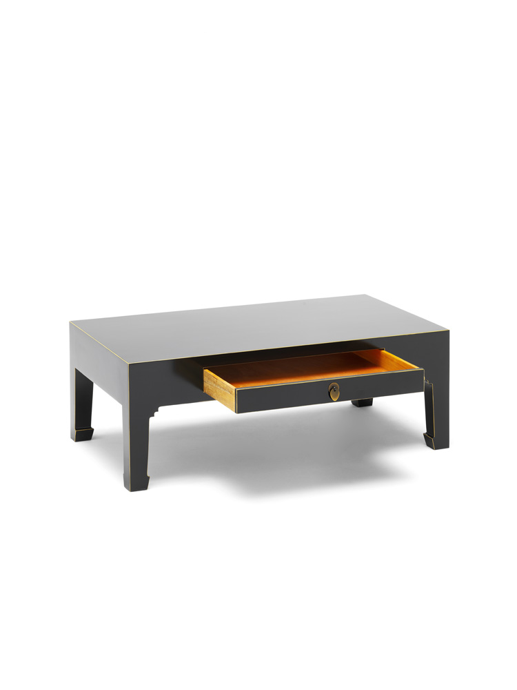 Oriental Nine Schools Qing Black And Gold Leaf Gilt Coffee Table With Drawer Ebay