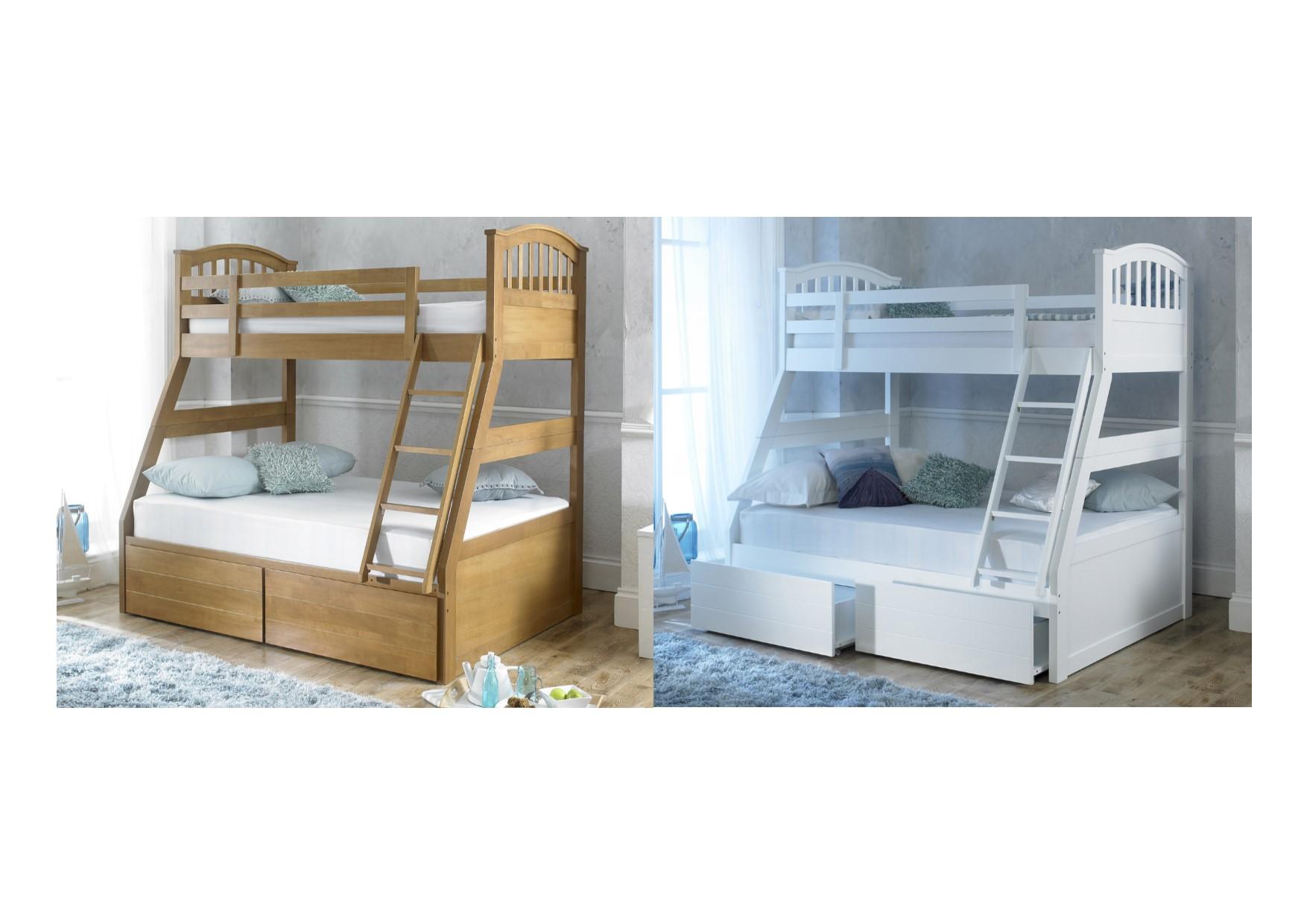 artisan beds barbican three sleeper or bunk bed oak or white ebay. Black Bedroom Furniture Sets. Home Design Ideas
