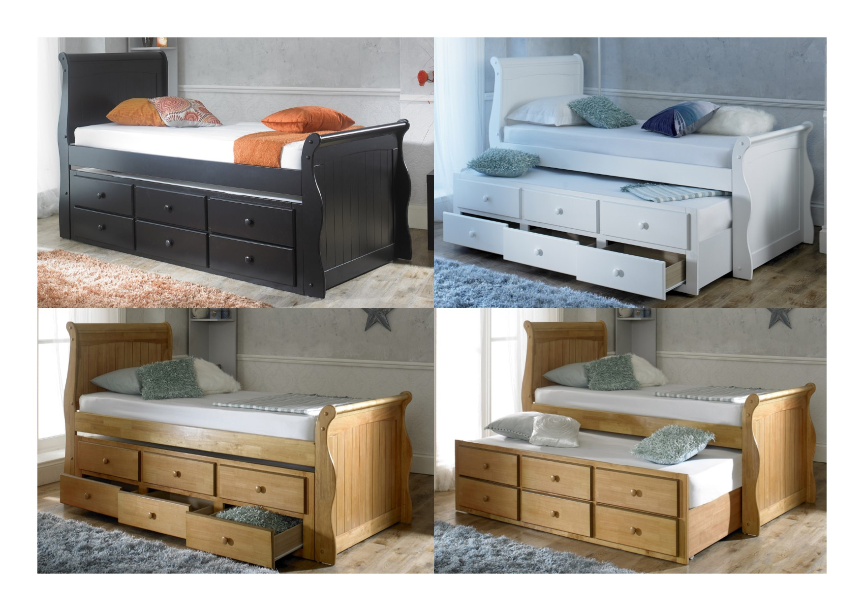artisan beds captain single wooden storage bed with trundle black oak white ebay. Black Bedroom Furniture Sets. Home Design Ideas
