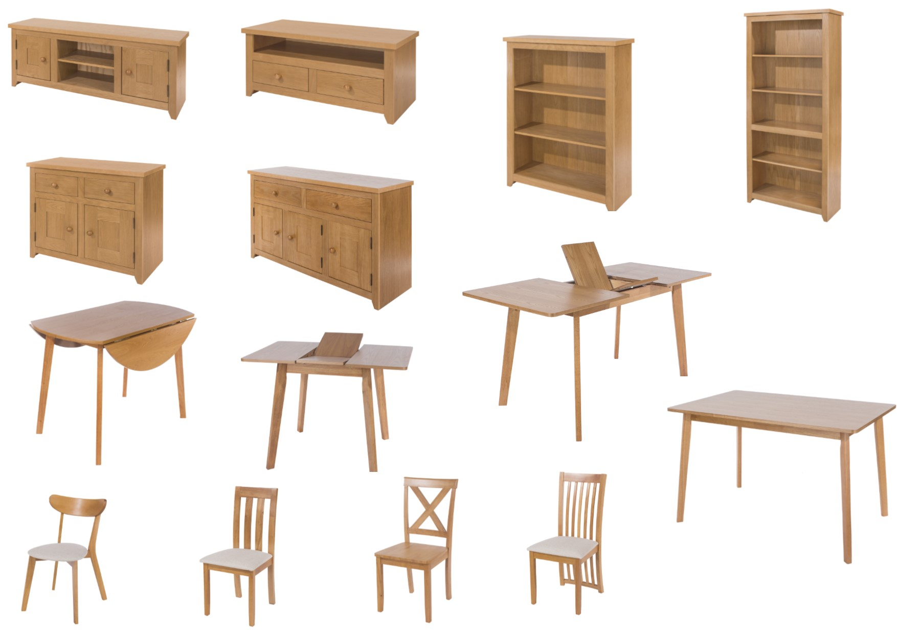 Hamilton oak living dining collection tables chairs