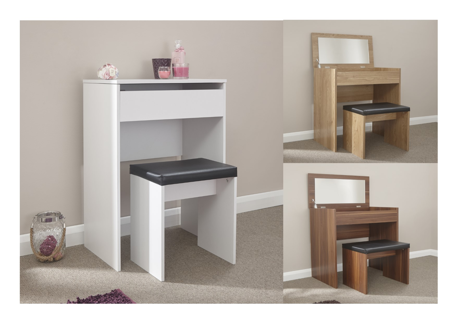 Compact dressing vanity makeup table faux leather stool for Oak makeup table
