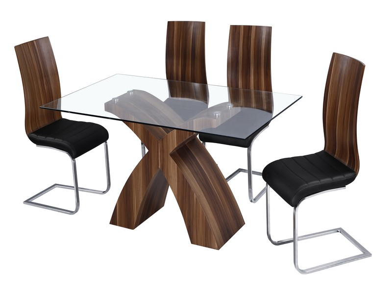 Holte glass top walnut effect dining table black pu leather chairs ebay Walnut effect living room furniture