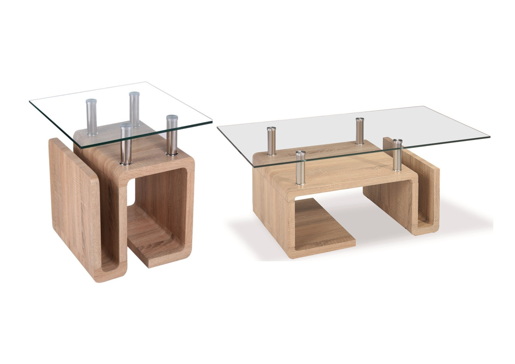 Oak And Glass Table Lamps: Edith Glass Top Tables With Modern Design Oak Effect Base