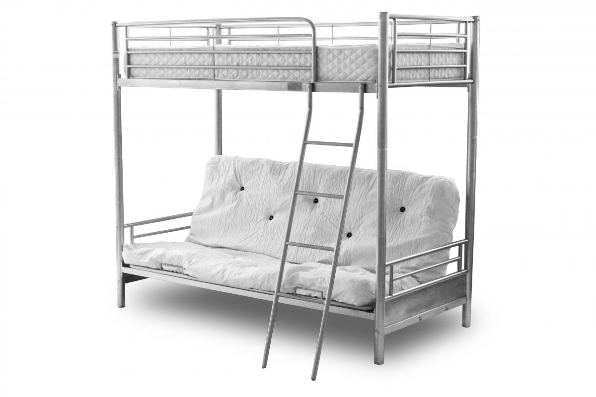 alaska silver metal frame futon bunk bed with sofa bed at bottom ebay. Black Bedroom Furniture Sets. Home Design Ideas