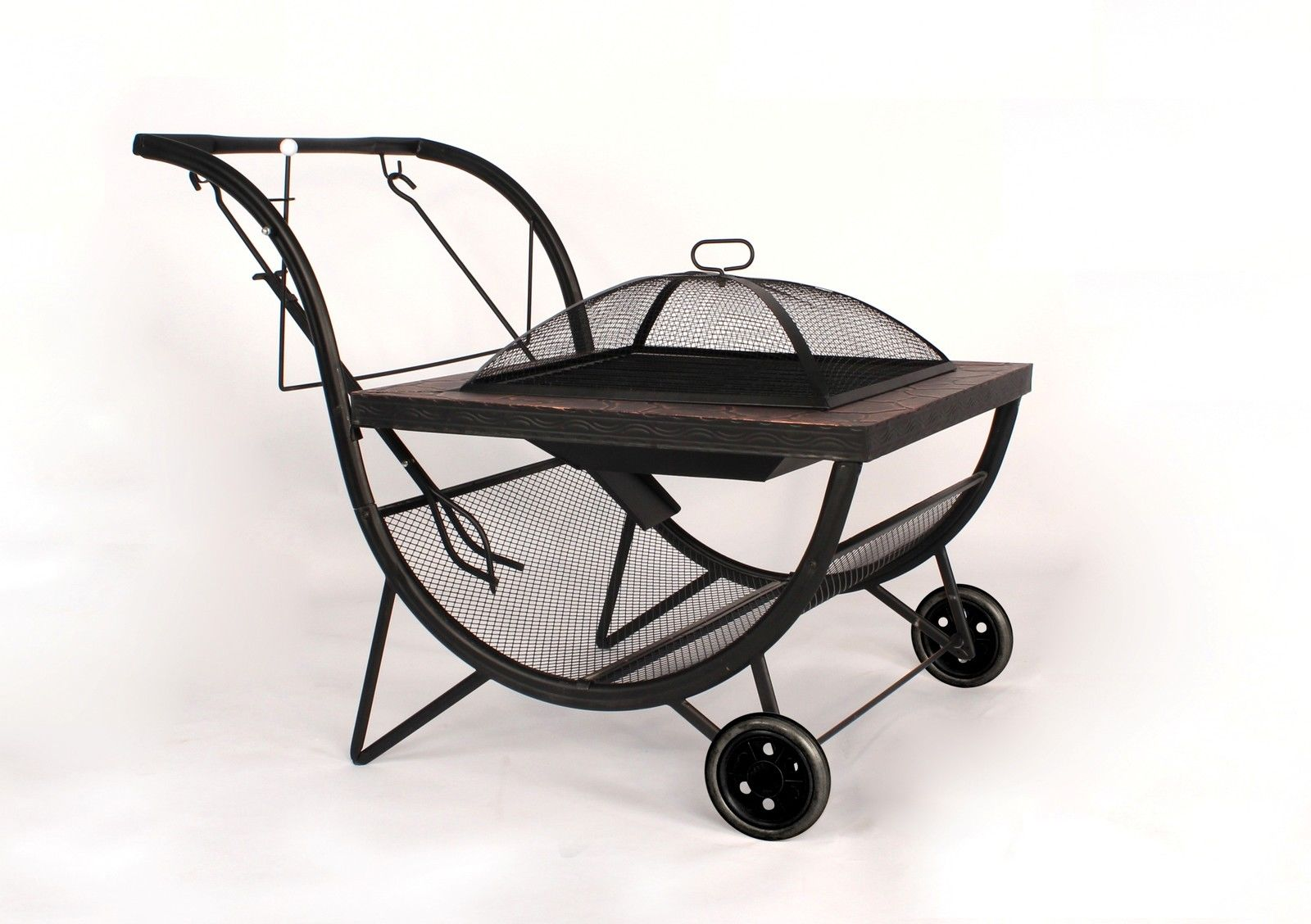 bbq fire pit grill outdoor fireplace on wheels trolley. Black Bedroom Furniture Sets. Home Design Ideas