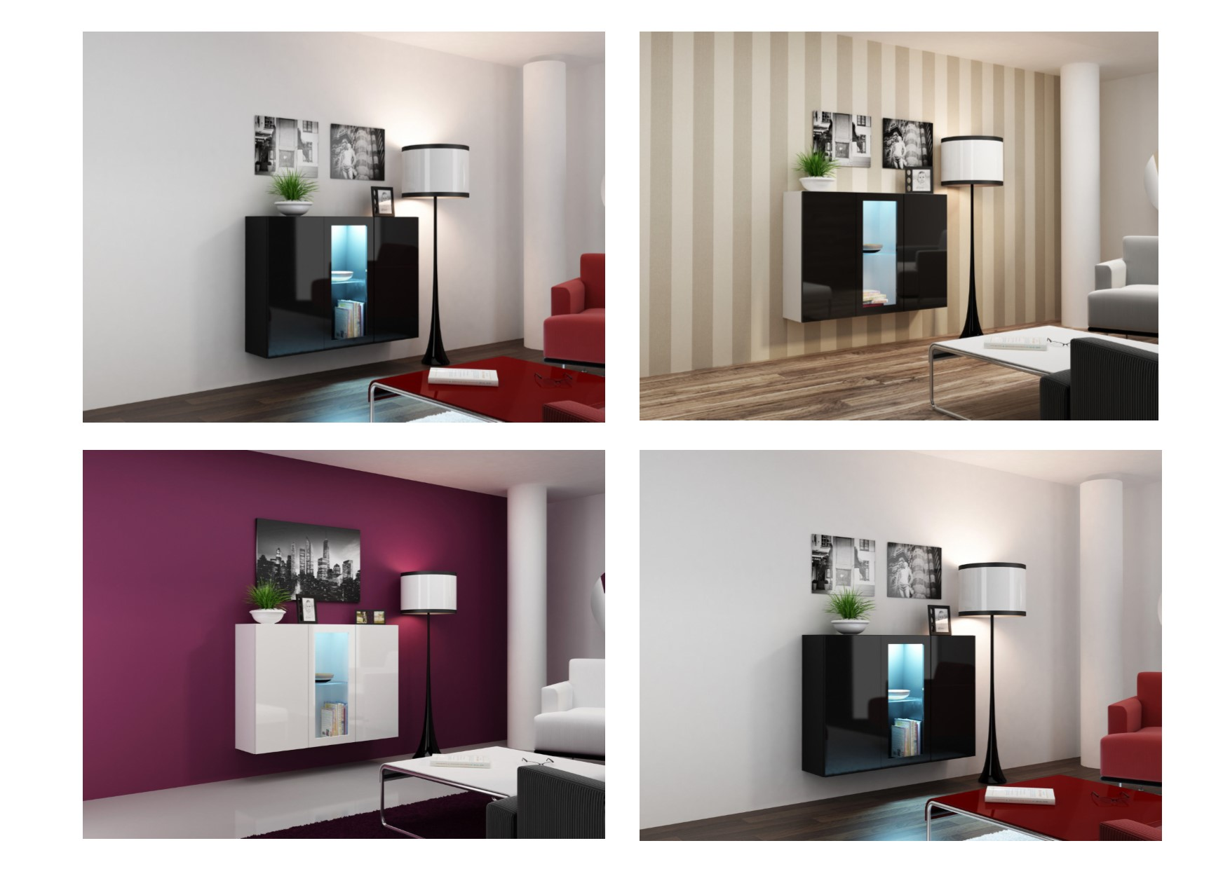 High Gloss Wall Mounted Floating Led Sideboard Unit Black
