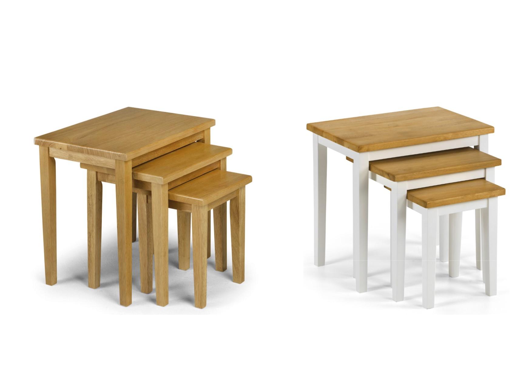 julian bowen cleo nest of tables light oak white oak. Black Bedroom Furniture Sets. Home Design Ideas