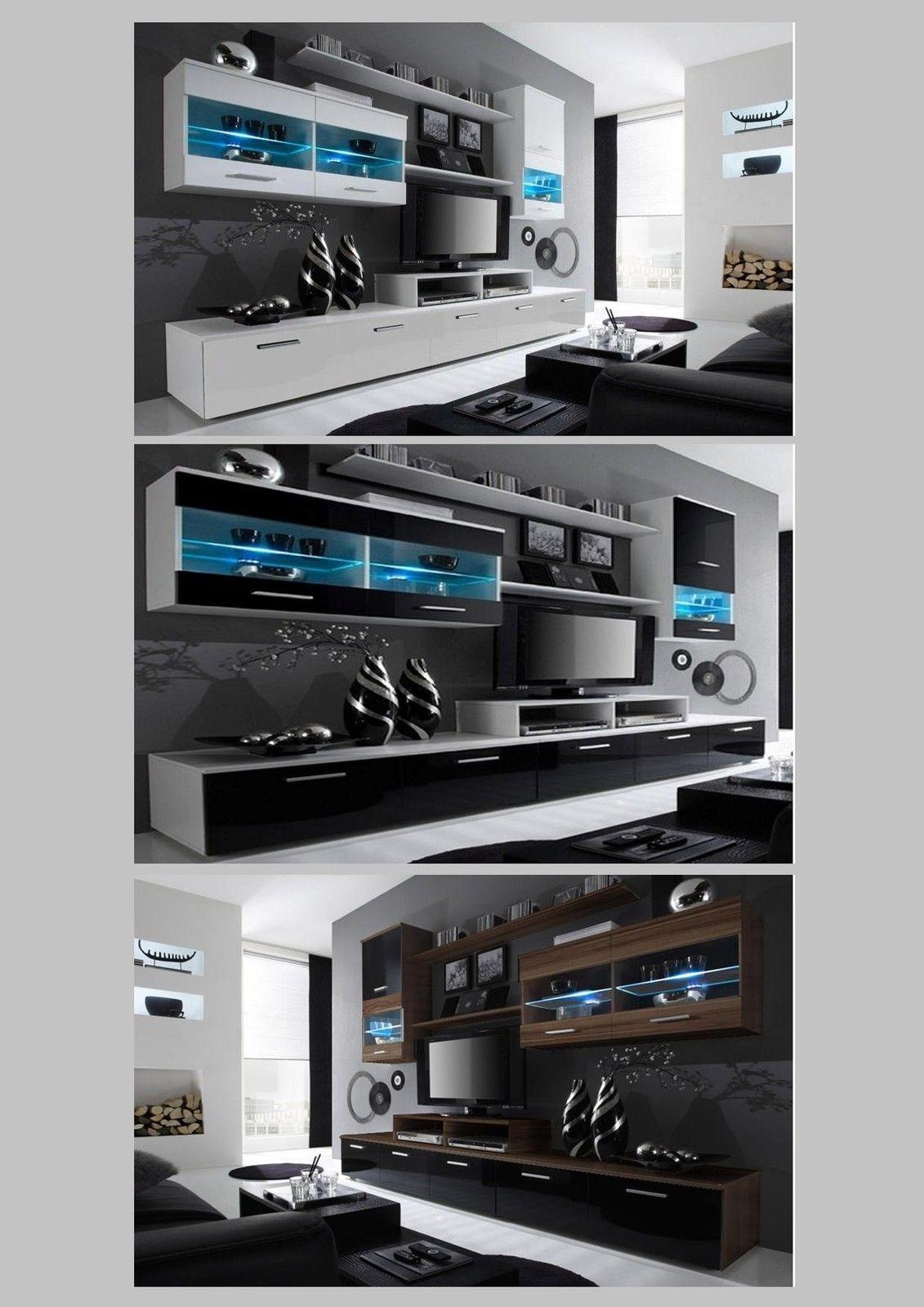High Gloss Living Room Furniture Set Black Or White