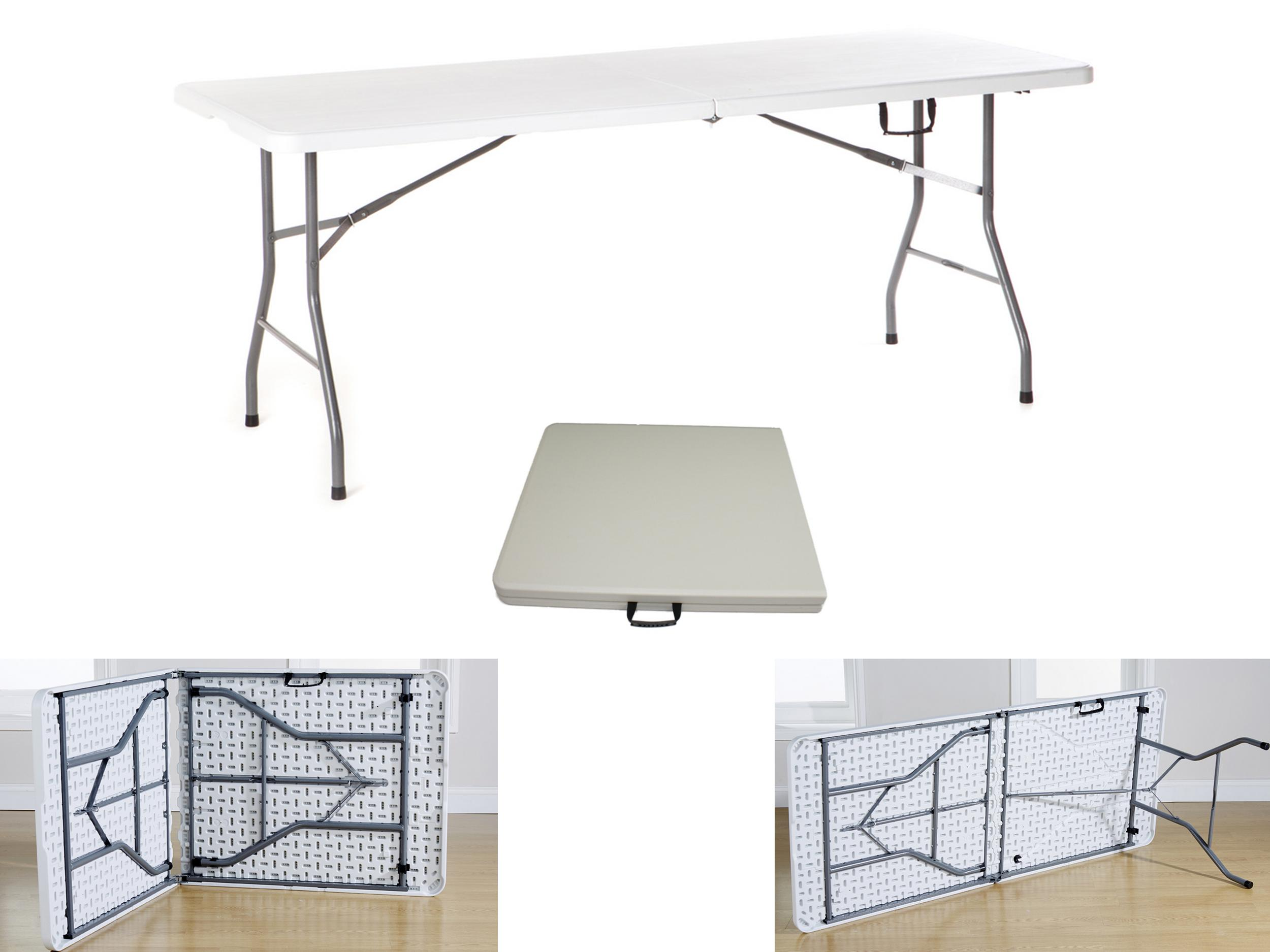 6ft folding table white plastic steel legs handle outdoor bbq