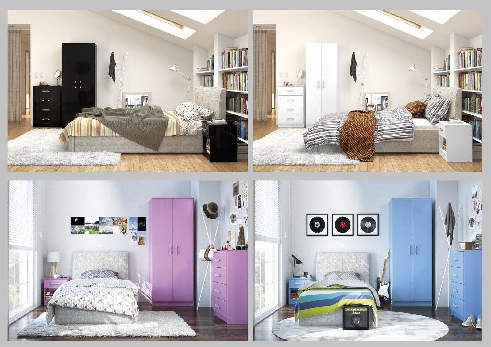new reflect high gloss bedroom furniture trio set