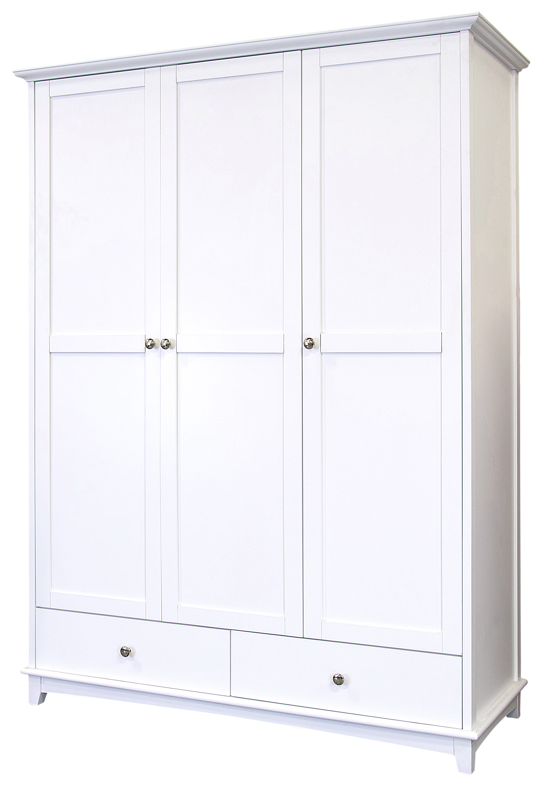 About Toulouse 3 Door 2 Drawer Wardrobe White Painted Solid Wood. Full resolution‎  portrait, nominally Width 2070 Height 3000 pixels, portrait with #535378.