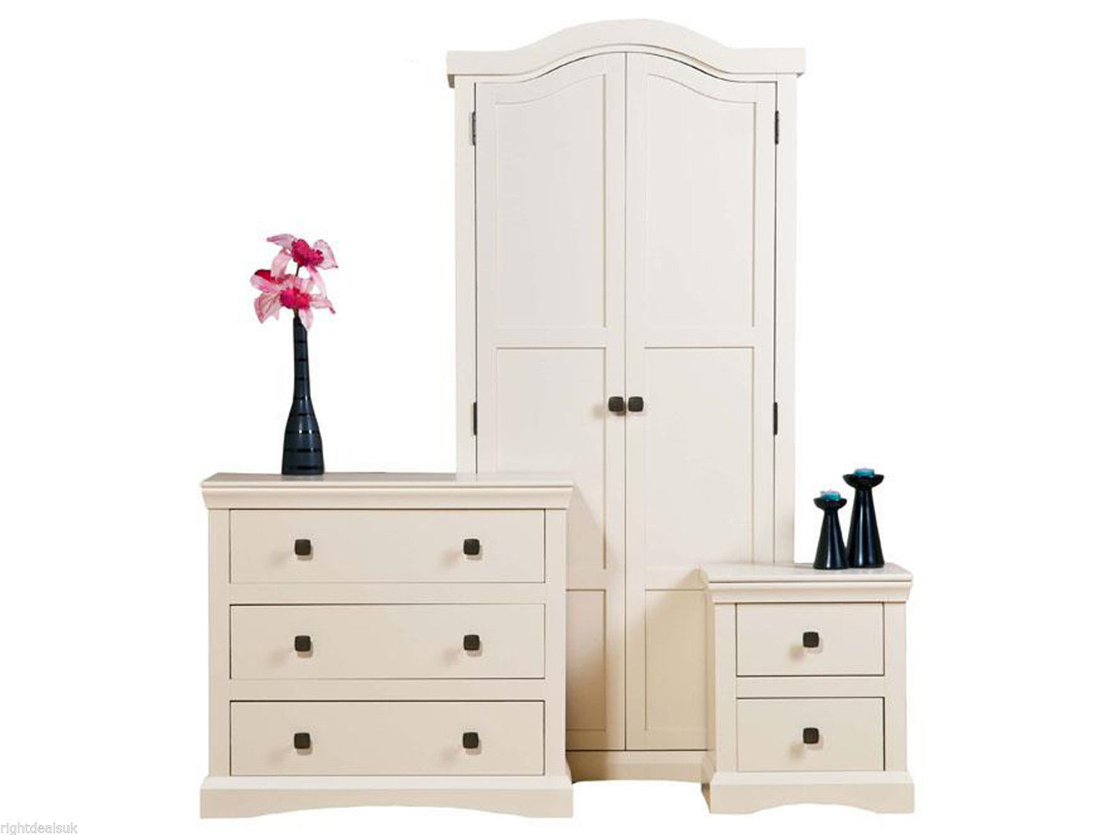 3 Piece Bedroom Set Cream Painted Wood Shabby Chic Wardrobe Drawers Bedsi