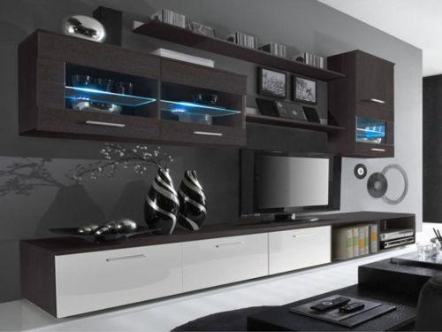 High Gloss Living Room Furniture Set Wenge White