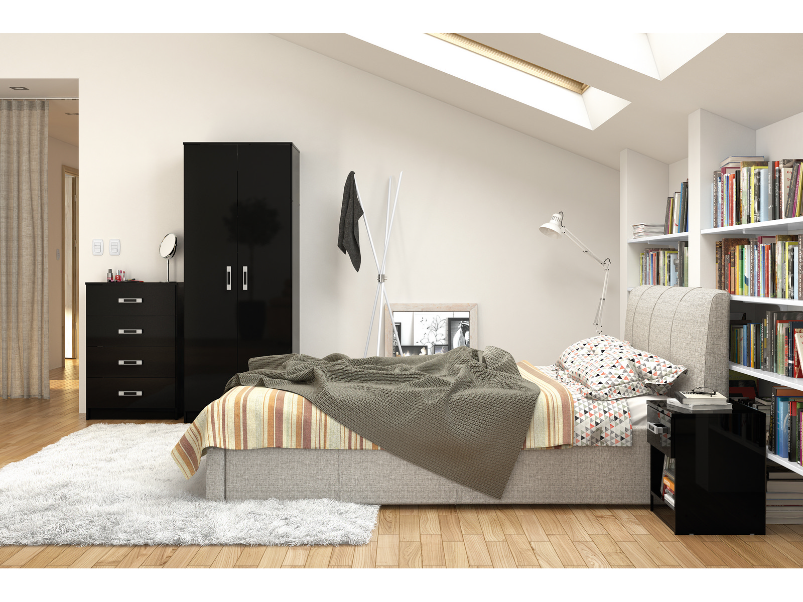 New Reflect Black High Gloss Trio Bedroom Furniture Set Wardrobe Chest Bedside Ebay