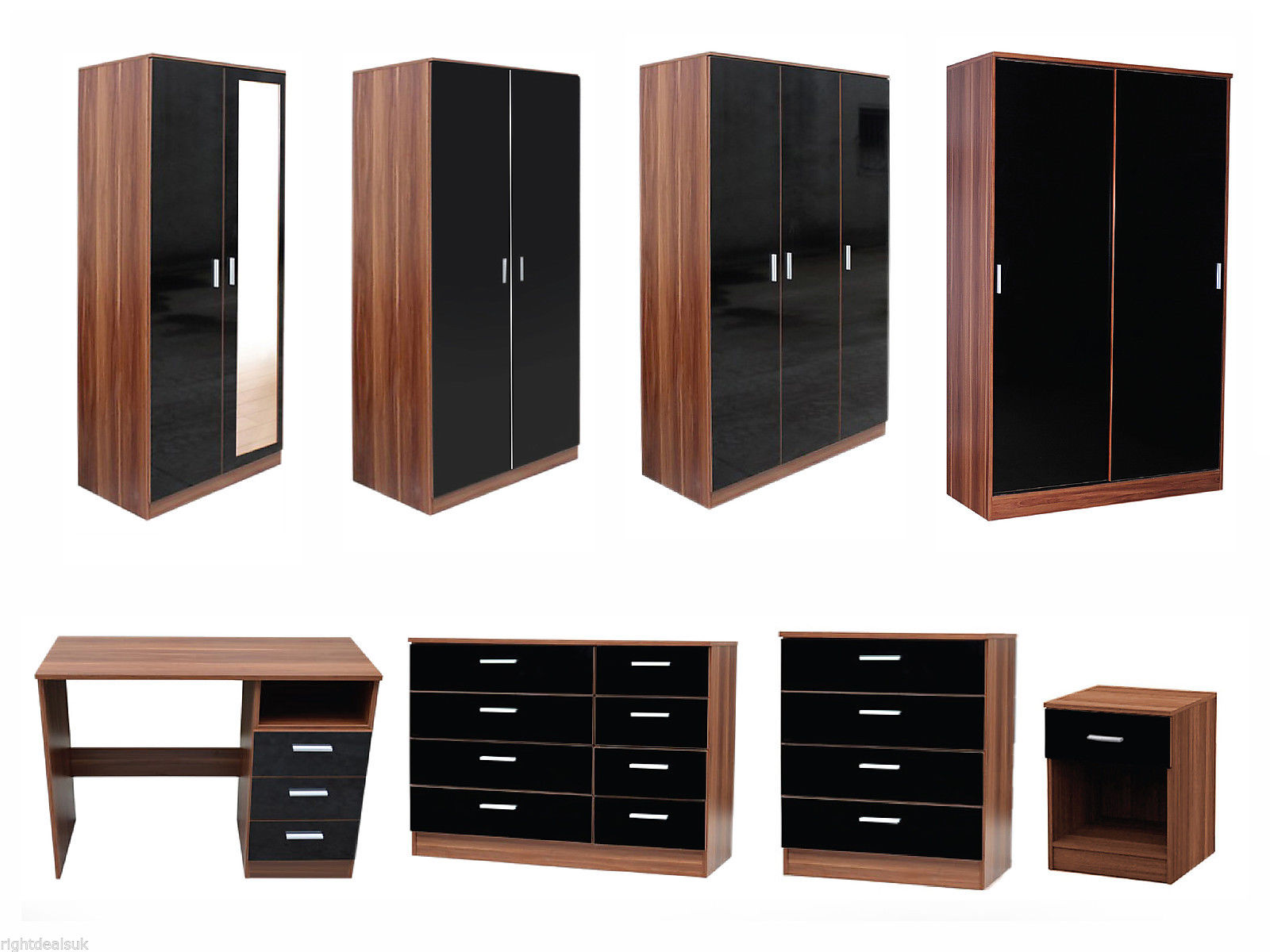 NEW Caspian High Gloss Black & Walnut Bedroom Furniture Set Full