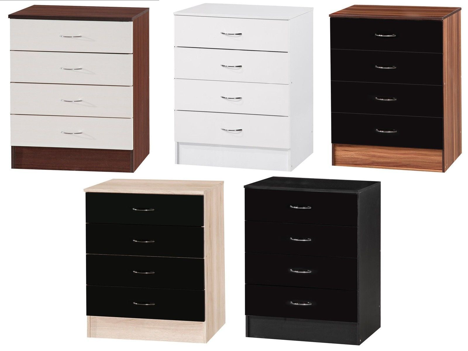 Alpha high gloss chest of drawers black walnut white oak bedroom furniture ebay for White bedroom chest of drawers