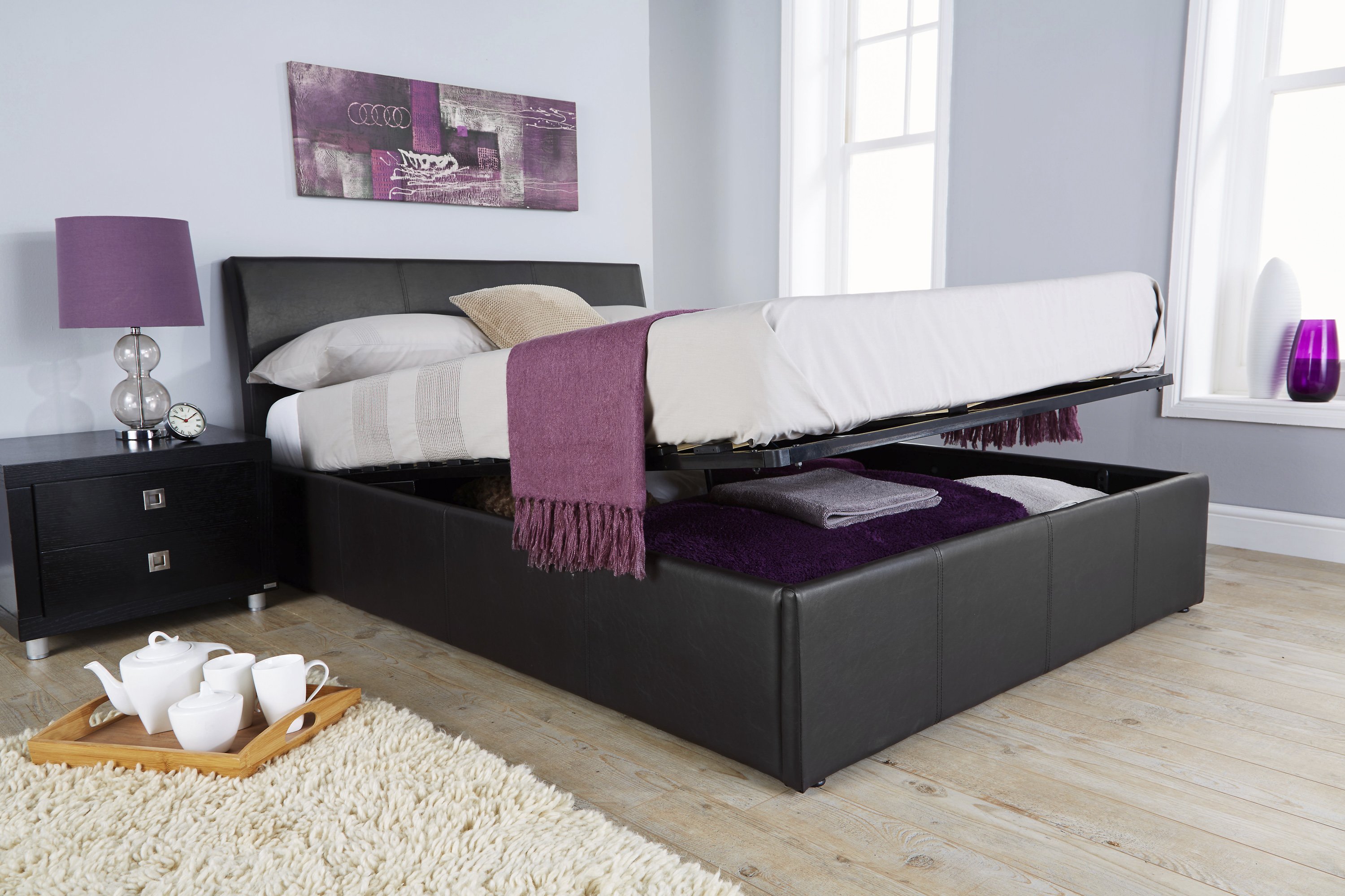 double ottoman storage bed with curved headboard black faux leather