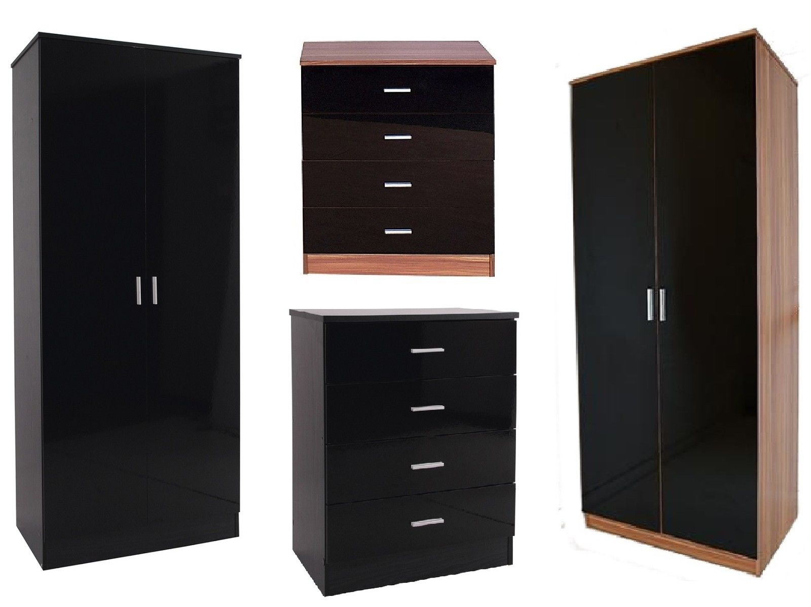 Caspian black high gloss bedroom furniture set wardrobe - Black chest of drawers for bedroom ...