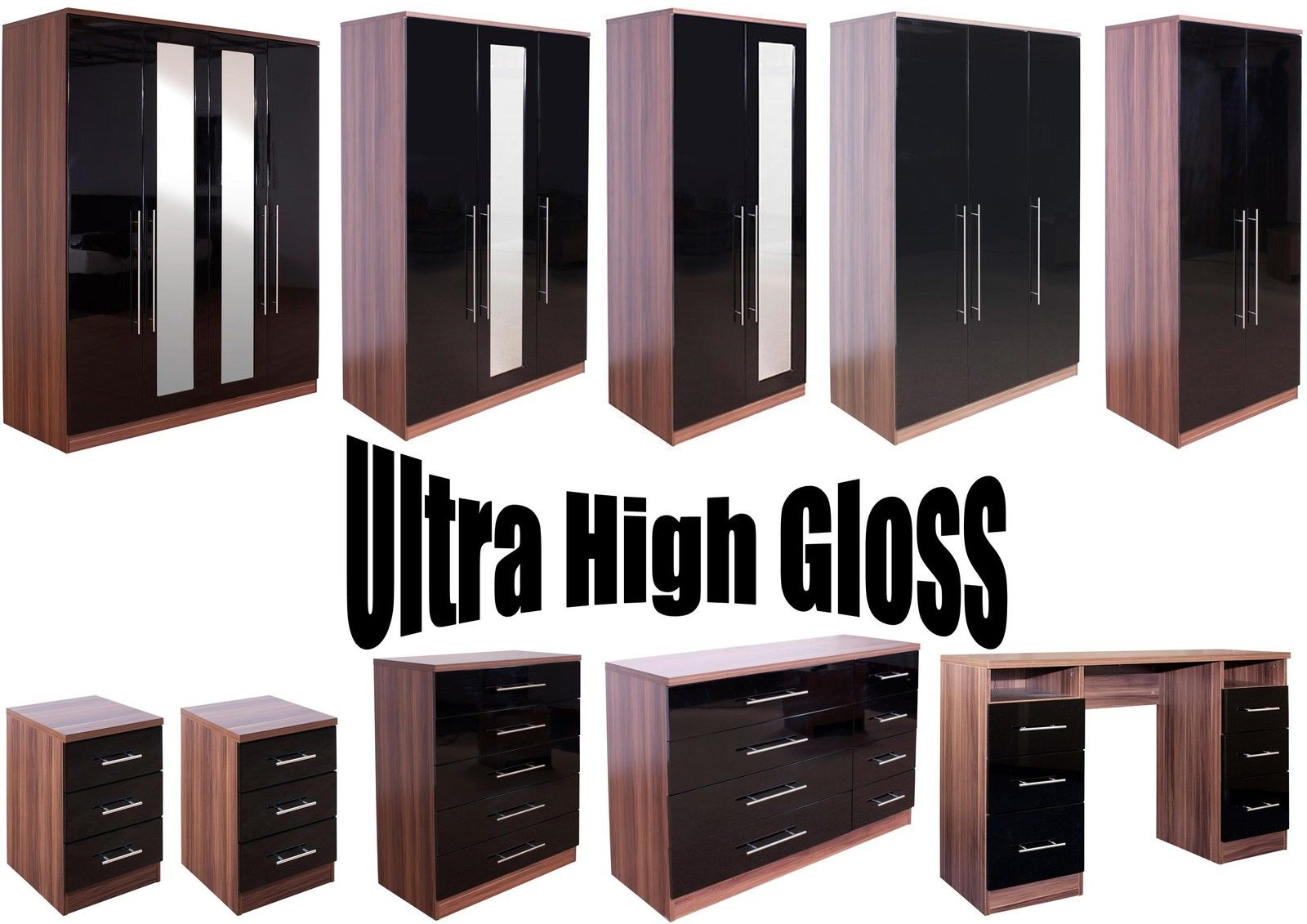 Super High Quality Ultra Gloss Black And Walnut Large Modular Bedroom Furniture Ebay