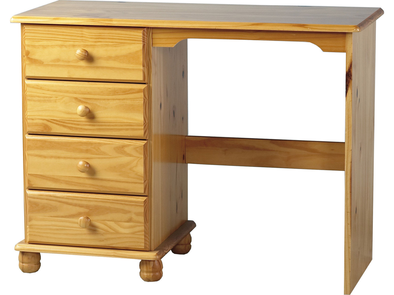 Seconique solid pine dressing table desk with bun feet for Range dressing table