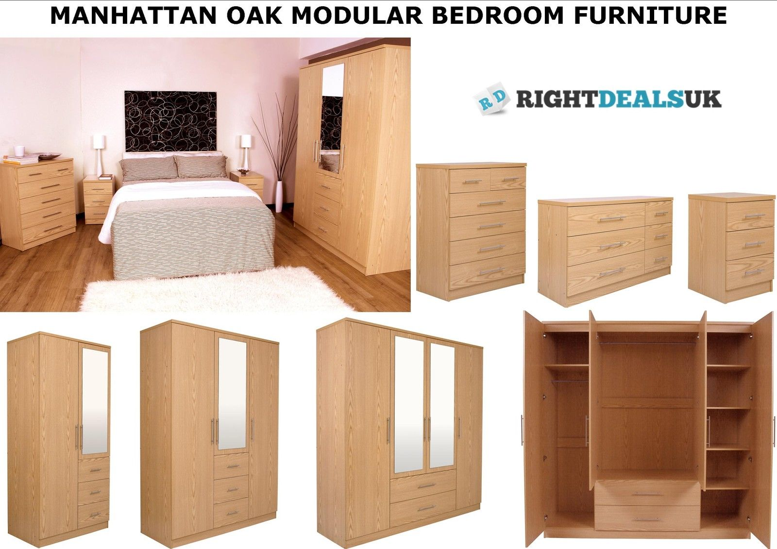 BRAND NEW High Quality Range Of Oak Veneer Bedroom Furniture