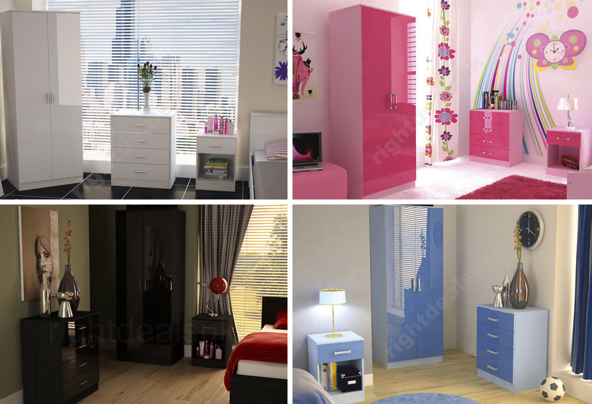 Caspian high gloss bedroom furniture sets boys girls pink Pink room with white furniture