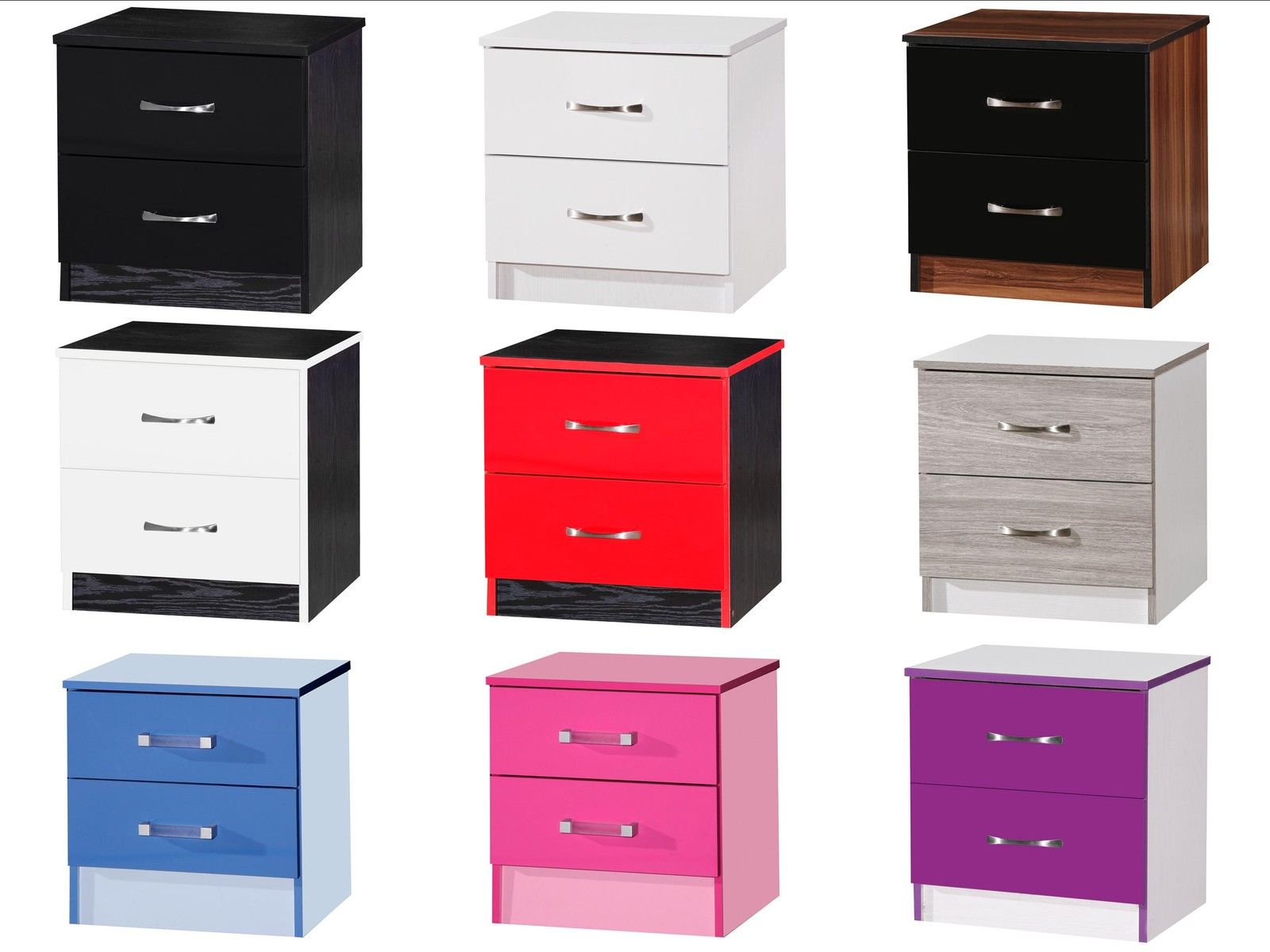 Pair Of High Gloss Bedside Cabinets With 2 Drawers Marina Bedroom Furniture Ebay