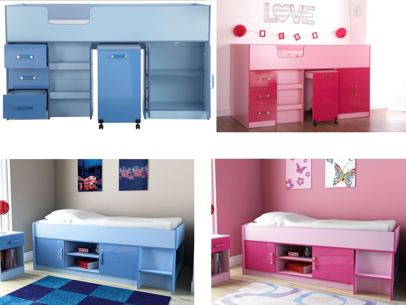 ottawa childrens cabin and mid sleeper beds 2 tone high gloss pink or blue
