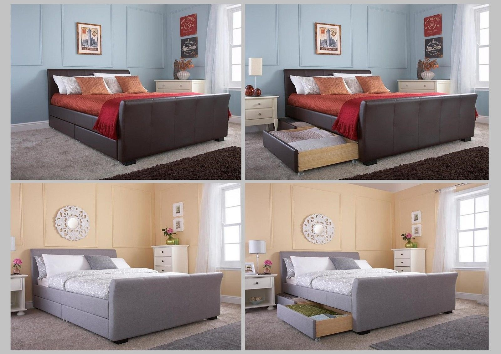 the hannover storage bed grey fabic or brown faux leather double or king ebay. Black Bedroom Furniture Sets. Home Design Ideas