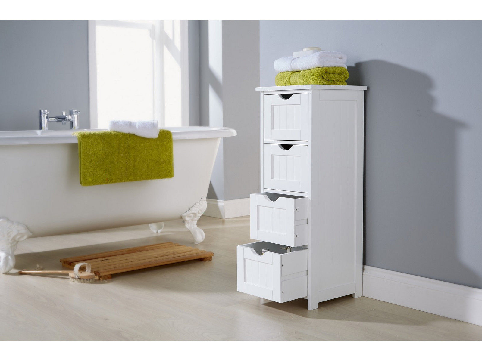 Shaker Style Bathroom Cabinet 4 Drawer Storage Unit White Ebay